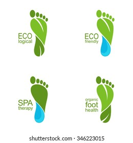 Set of footprints of green leaves and water drops for ecology, organic health and beauty care design