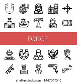Set of force icons such as Magnet, Fortification, Turbo, Battleship, Policewoman, Stun gun, Military base, Soldier, Center of gravity, Riot police, Assault rifle, Military , force