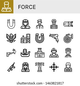 Set of force icons such as Military, Magnet, Policewoman, Soldier, Eagle, Military base, Gun, Turbo, Battleship, Fortification, Riot police, Assault rifle, Stun gun, Center of gravity , force