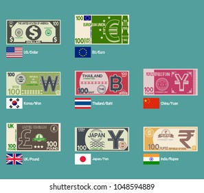 Set of foreign banknote design on transparent background