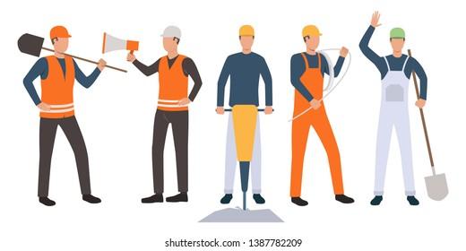 Set of foreman, builders, electrician and handymen working. Group of men wearing uniform and holding tools. Vector illustration for building work presentation slide, construction business design