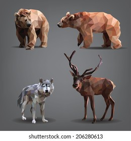 Set of forest animals: bears, deer, wolf. Vector illustration