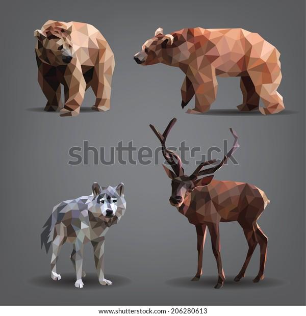Set of forest animals: bears, deer, wolf. Vector illustration