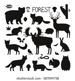 Set of forest animals, birds and plants in silhouette style. Flat vector illustration isolate on a white background