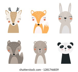 Set of forest animals. Vector illustration depicting a Fox, hare, deer, wolf, bear and Panda for printing on fabric, postcard, dishes, clothes, book. Cute baby background.
