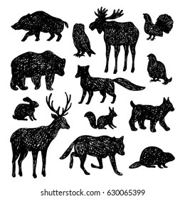 Set of forest animals.Vector hand drawn illustration.