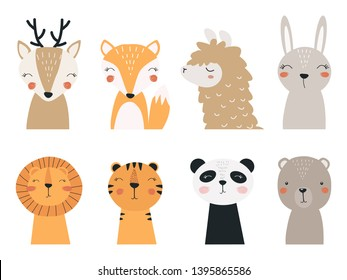 Set of forest and exotic animals. Illustration depicting a Panda, a llama, a tiger, a lion, a bear, a Fox, a fawn and a hare, for printing on children's goods and promotional products