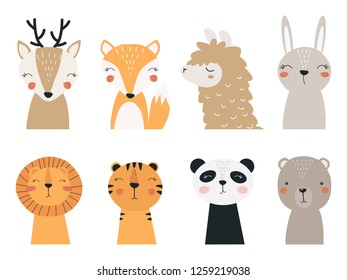 Set of forest and exotic animals. Vector illustration depicting a Panda, a llama, a tiger, a lion, a bear, a Fox, a fawn and a hare, for printing on children's goods and promotional products.