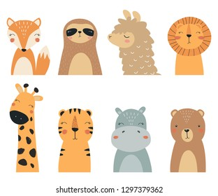 Set of forest and exotic animals. Vector illustration, with the image of a Fox, bear, lion, tiger, sloth, llama, Hippo and giraffe, handmade, for printing on a postcard. Cute baby background