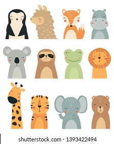 Set of forest and exotic animals. Vector illustration, with the image of a Fox, bear, lion, tiger, sloth, llama, Hippo, elephant and giraffe, handmade, for printing on a postcard. Cute baby background