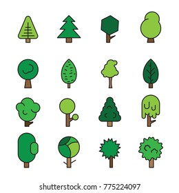 Set forest trees, evergreens coniferous trees and pine isolated on white background vector illustration. Green color forest trees vector image