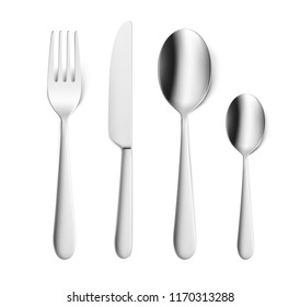 Set of fork, knife and spoon isolated on white. Vector illustration. Ready for your design. EPS10.