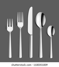 Set of fork, knifes and spoons on dark background. Vector illustration. Ready for your design. EPS10.