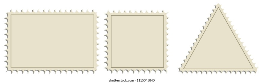 A set of forms for postage stamps. Vector illustration.