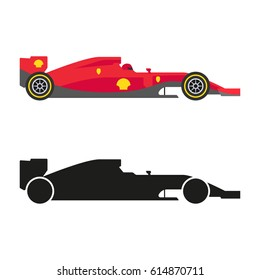 Set of formula 1 (one) racing car icons. Vector