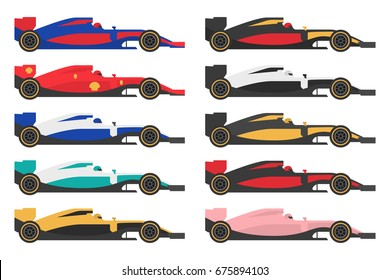 Set Of Formula 1 One Racing Car Icons Vector