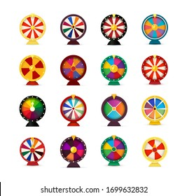Set of Fortune wheels, lottery wheel collection, vector illustration for online casino and gambling games
