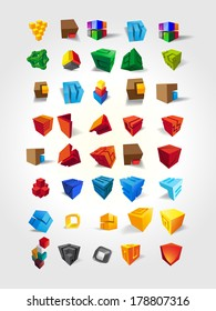 set of forty abstract colored cubes  for design