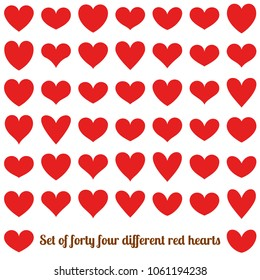 Set of forty four different red hearts, isolated on white. EPS 10 vector file