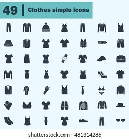 Set of forty nine clothes icons