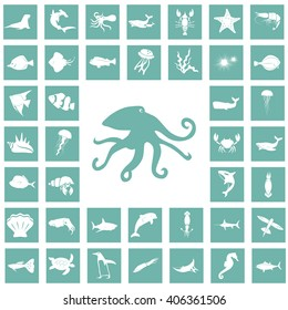 Set of forty sea animals icon