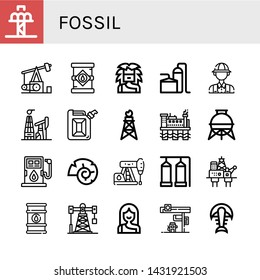 Set of fossil icons such as Drop tower, Pumpjack, Oil tank, Troglodyte, Storage tank, Archaeologist, Oil mining, Jerrycan, Oil rig, Fuel, Nautilus, Petroleum, barrel , fossil