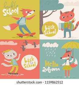 Set of foue welcome back to school vector cards with funny foxes and a cat.
