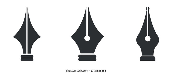 Set Fountain pen icon, logo, vector illustration isolated on white background