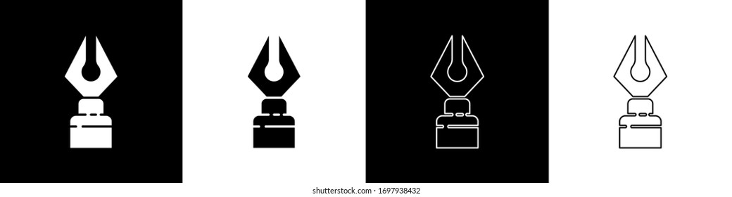 Set Fountain pen nib icon isolated on black and white background. Pen tool sign.  Vector Illustration