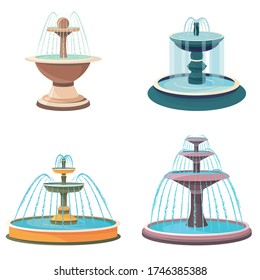 Set of fountains. Beautiful objects in cartoon style.
