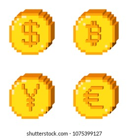 Set of four 8 bit pixel art coin icons. Color 3D concept of currency. Dollar, bitcoin, yen, euro.