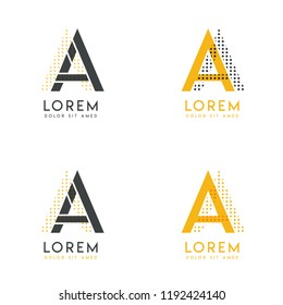 a set with four abstract AA logo. Suitable for websites and corporate identity, and can be used for banner, card and business. this logo is yellow and gray