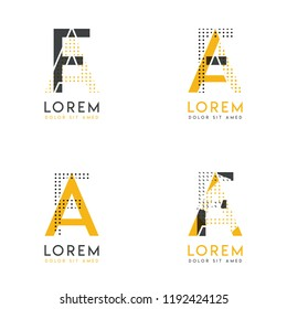 a set with four abstract AF logo. Suitable for websites and corporate identity, and can be used for banner, card and business. this logo is yellow and gray
