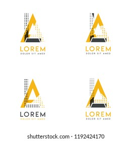 a set with four abstract AL logo. Suitable for websites and corporate identity, and can be used for banner, card and business. this logo is yellow and gray