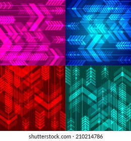 Set of four abstract arrows backgrounds. Vector illustration.