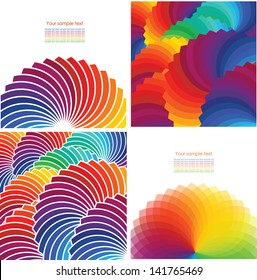 Set of four abstract background with spectrum wheels.