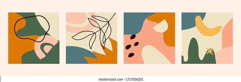 Ensemble de quatre arrière-plans abstraits. Différentes formes abstraites. Illustrations abstraites isolées. Objets et formes dessinés à la main. Illustration vectorielle aux couleurs pastel