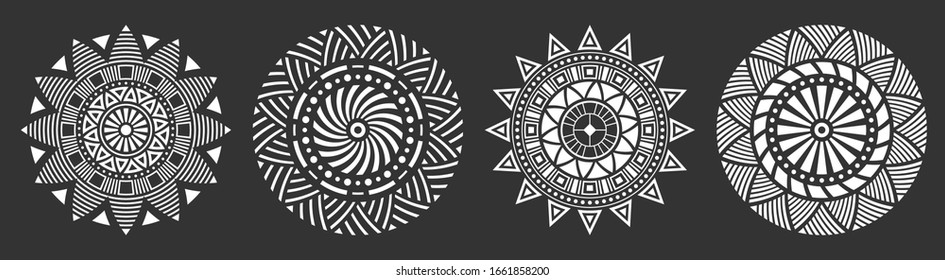 Set of four abstract circular ornaments, floral ornament patterns, striped frames. Decorative patterns isolated on black background. Design elements. Vector monochrome illustration.