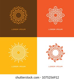 Set of four abstract linear sun logo. Summer travel tour or resort line symbol.