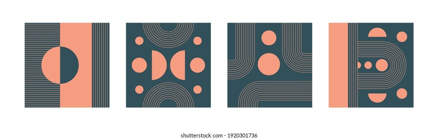Set of four Abstract modern Vector Backgrounds. Circles, Lines, Curves. Geometrical Design. Minimalistic boho elegant concept. Square Patterns. Pink and blue colors. Every poster is isolated