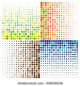 Set of four abstract patterns with multicolored dots.