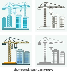 Set of four abstract silhouette abstract line art industry icons featuring building, houses construction and cranes.