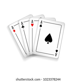 Set of four aces deck of cards for playing poker and casino on white background. spades, diamonds, clubs and hearts.
