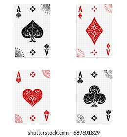 Set of four aces of a deck of cards for playing poker and casino on a white background in vintage style. spades, diamonds, clubs and hearts.