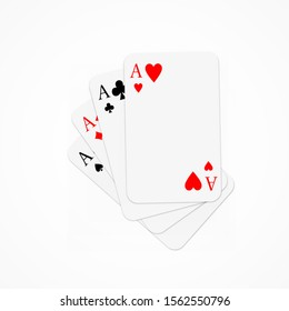 Set of four aces playing cards suits stacked on each other. Winning poker hand.