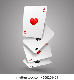Set of four aces playing cards fly or falling. Winning poker hand. JPG include isolated path. eps10