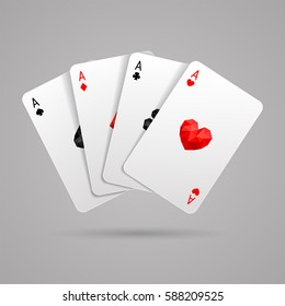 Set of four aces playing cards suits. Winning poker hand. JPG include isolated path. eps10