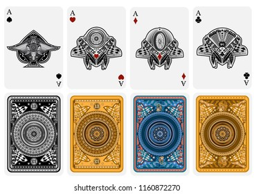 Set of four Aces of spades, ace of diamonds, ace of club, ace of hearts in motorcycle style. Vector card template