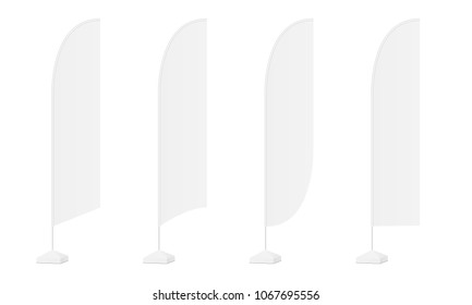 Set of four advertising flags various shapes isolated on white background. Vector illustration