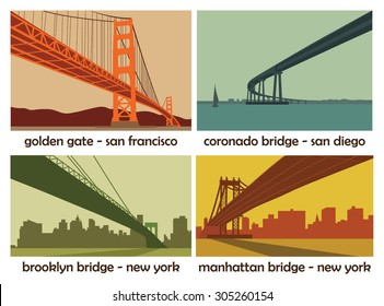 set of four american cities with bridges; vintage vector landscapes